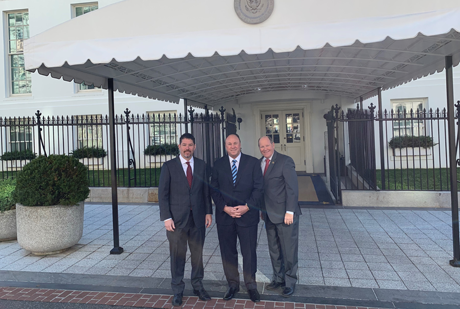 Nick Sabino, Kent Schwickert and Ried Ribble in front of the White House.